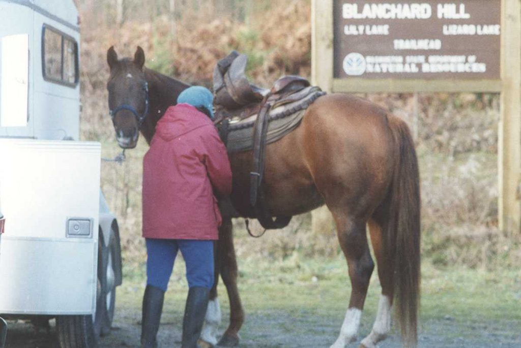 My Friend T with her horse Rosie - Safety on the trail.